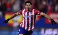 Diego Costa festeja un gol al Milan en los cuartos de la Champions 2014.