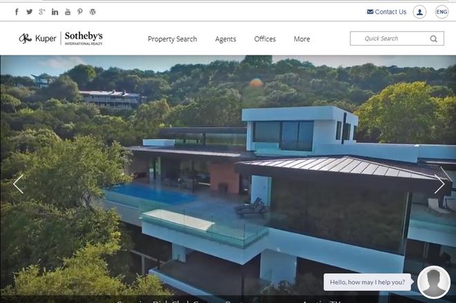 Página de inicio de la web de la inmobiliaria Kuper Sotheby's International Realty.