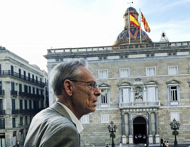 John H. Elliott, la pasada primavera en el balcón del Ayuntamiento de...