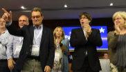 Artur Mas, con Carles Puigdemont en un Consell Nacional del PDeCAT...