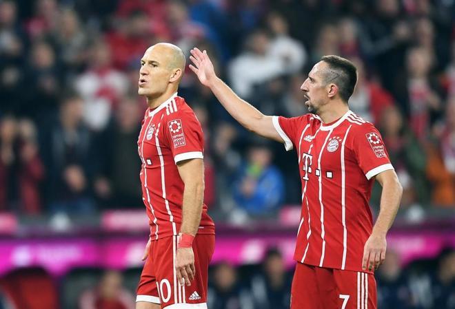 Robben y Ribery durante un partido del Bayern en la Bundesliga.