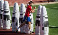 Piqué, el martes por la mañana, en el inicio del entrenamiento en la Ciudad del Fútbol.