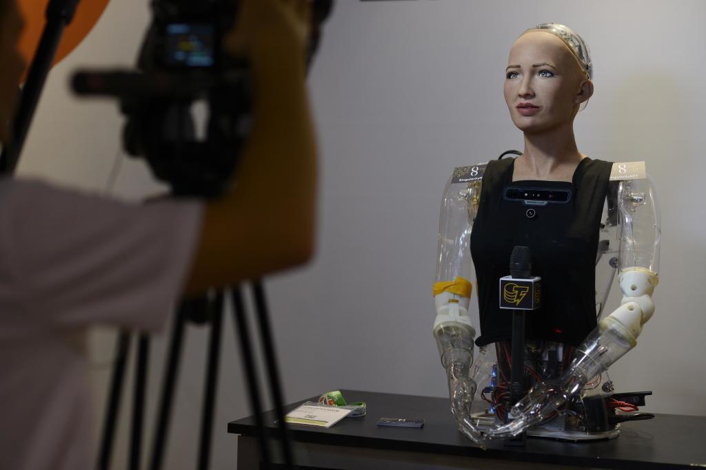 El robot Sophia ayer en el congreso de Fira de Barcelona.