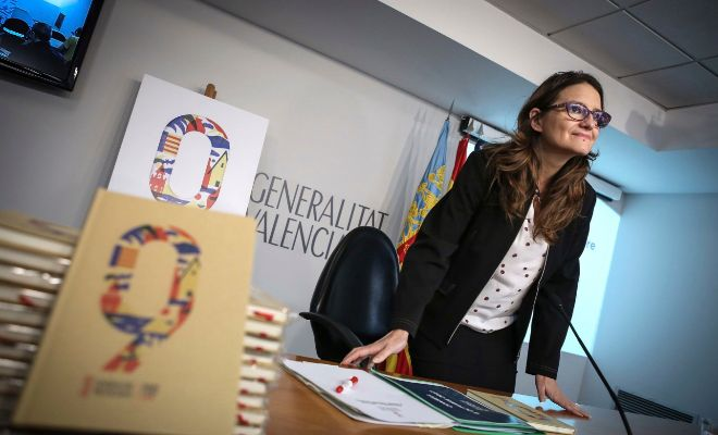 La vicepresidenta del Consell, Mónica Oltra, ayer en rueda de prensa.