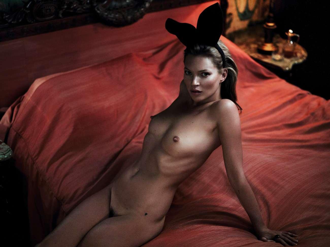La modelo Kate Moss, en su desnudo para Playboy, en una sesión...