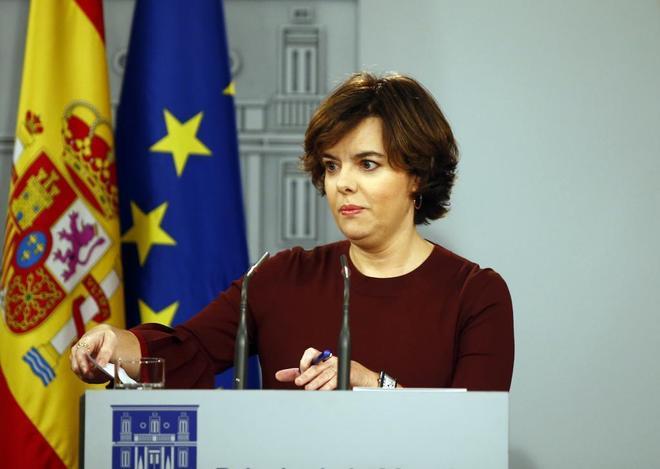 Soraya Sáenz de Santamaría, en su comparecencia en el Palacio de la...