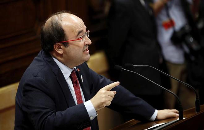 Miquel Iceta, durante su comparecencia en el Parlament.