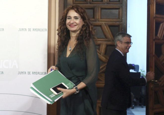 La consejera de Hacienda, María Jesús Montero, en la presentación de los presupuestos.