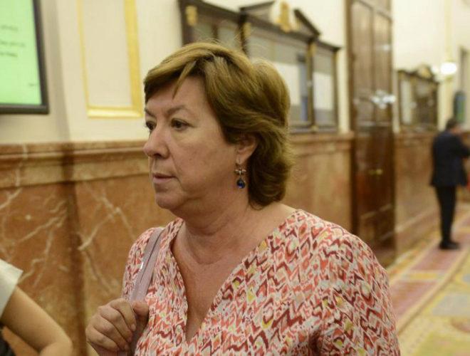 Pilar Barreiro, en los pasillos del Congreso de los Diputados en 2014.