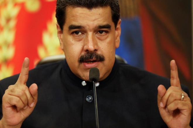 Nicolás Maduro, durante su comparecencia en el palacio de Miraflores,...