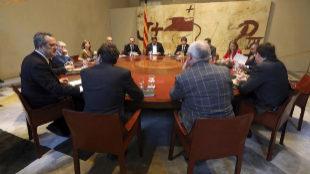 Reunión del Govern la pasada semana en el Palau de Generalitat....