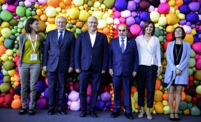 Joan Ribó, ayer con Graziano da Silva y las tenientes de alcalde Sandra Gómez y María Oliver.
