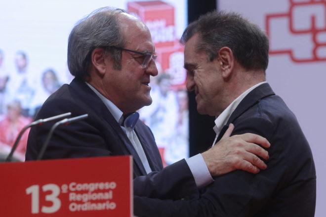 El portavoz del PSOE en la Asamblea de Madrid, Ángel Gabilondo, y el nuevo secretario general socialista en Madrid, José Manuel Franco.