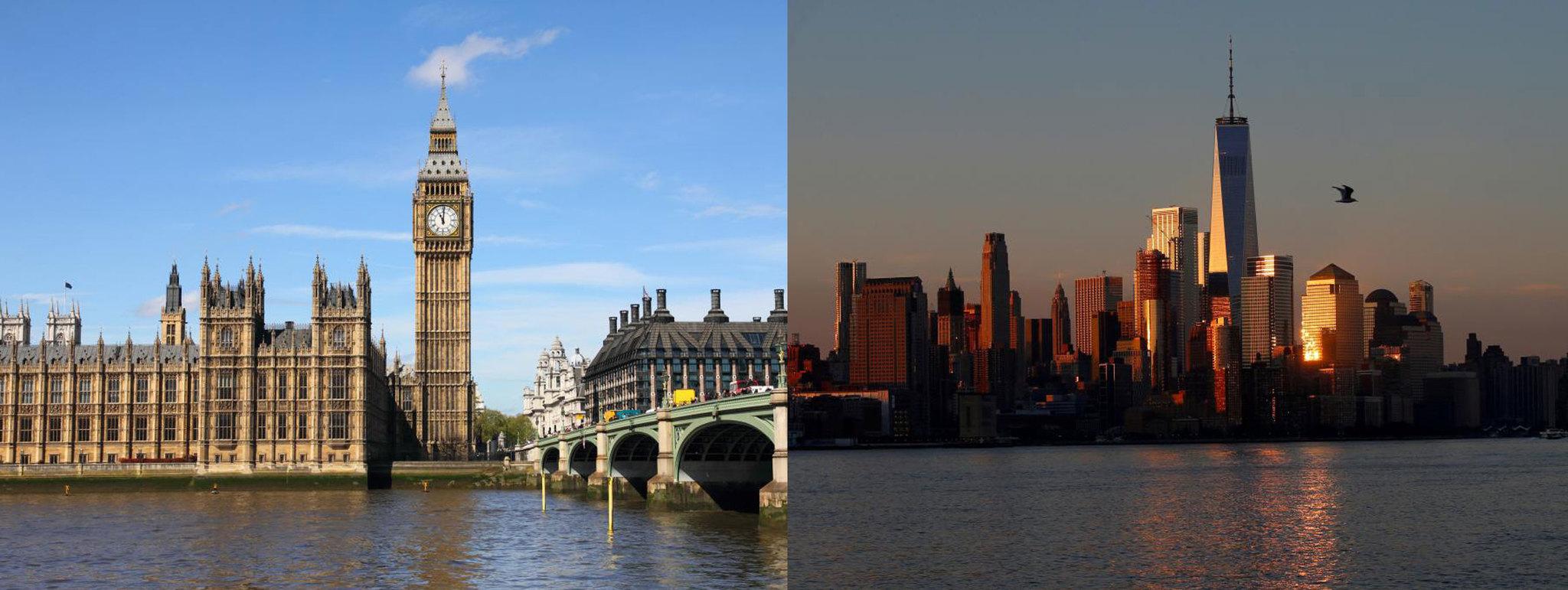 Vista de la bahía de Londres y 'skyline' de Manhattan, Nueva York.