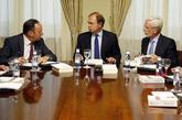 Pedro Sanz, Pío García-Escudero, presidente del Senado, y Joan...