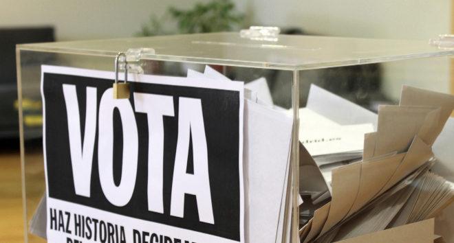 Imagen de una urna perteneciente a una votación popular