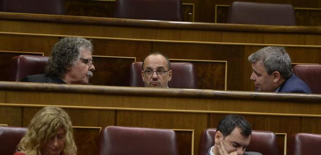 Joan Tardá (ERC), Carles Campuzano y Jordi Xuclá (PDeCAT), en el...
