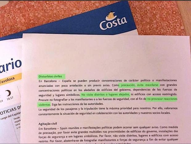costa cruises letter