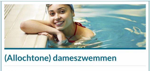 Publicidad de la piscina que da clases a musulmanas compartida en Twitter por Wilders.