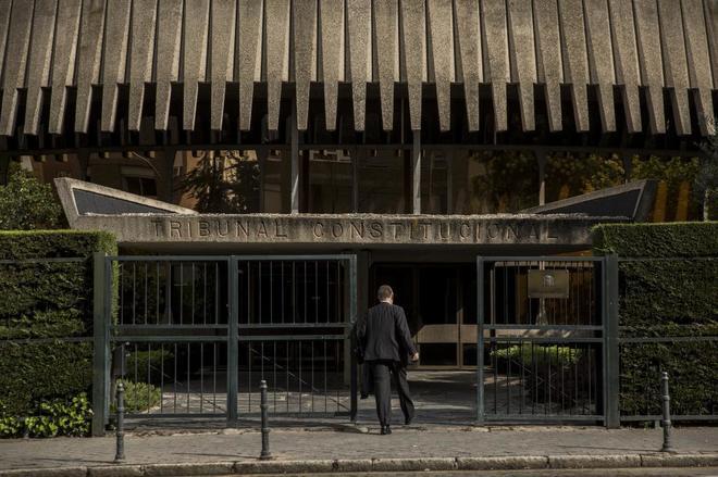 Acceso a la sede del Tribunal Constitucional, en Madrid.