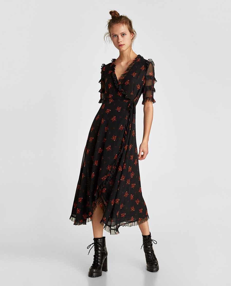 Flores – Zara De Vestidos Camisero Vestido Negro 2019 Punto xrBedCo