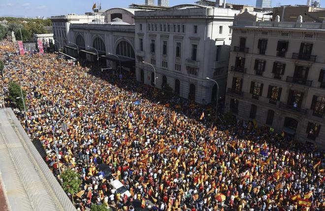Imagen de la manifestación constitucionalista celebrada en Barcelona...