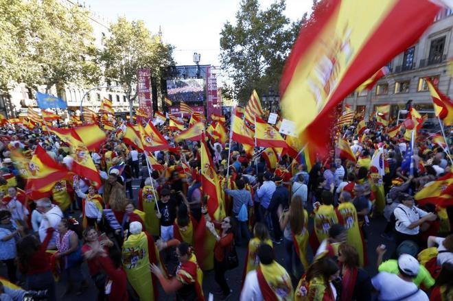 Un momento de la manifestación celebrada este domingo en Barcelona.