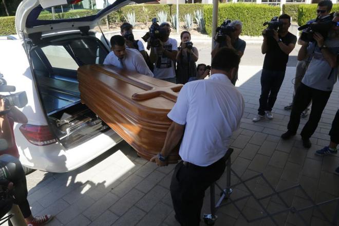 El féretro con los restos de Miguel Blesa, el día que fueron trasladados a Madrid..