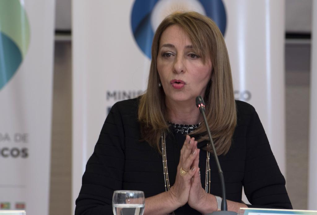 La procuradora general de Argentina, Alejandra Gils Carbó, recibe a los miembros del Mercosur el 14 de junio de 2017.