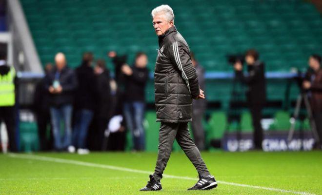 Heynckes, el lunes, durante el entrenamiento del Bayern en Celtic Park.