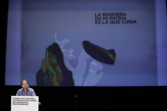 Pablo Iglesias, en un acto de Podemos celebrado este lunes en Madrid.