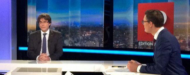 El ex 'president' Carles Puigdemont durante la entrevista en la...