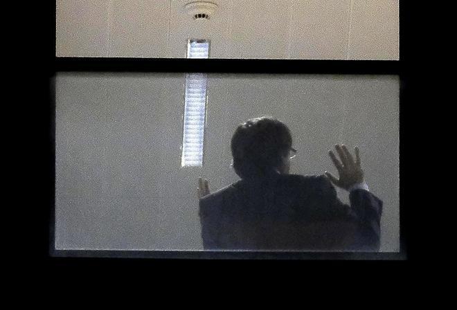 El ex presidente Carles Puigdemont, este domingo, durante su...