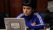 Anna Gabriel, de la CUP, durante una comisión de senadores en el...