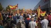 Una imagen de los concentrados frente al pabellón de Zaragoza donde...