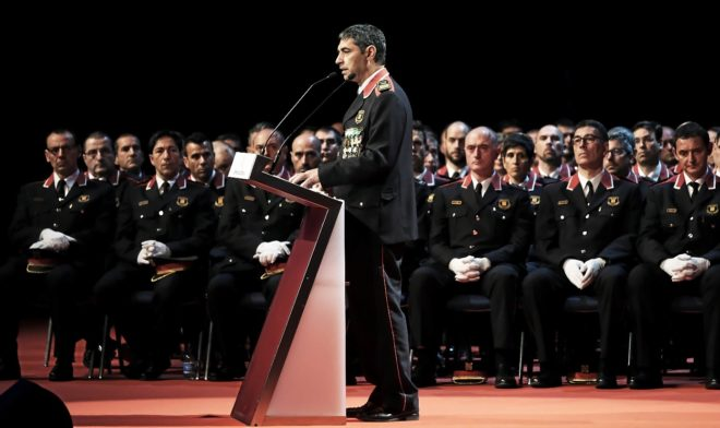 El mayor cesado Josep Lluís Trapero, en un acto del Dia de les...