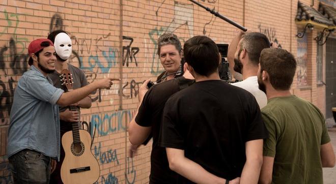 David Sainz, Aarón Gómez y Antonio Dechent, en el rodaje de 'Mambo'.