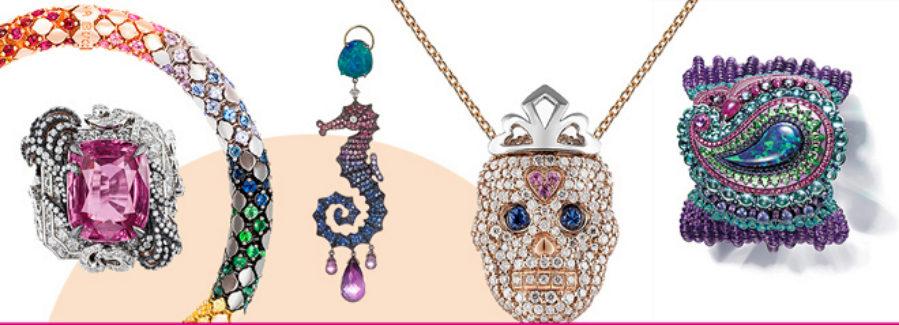 Joyas con diseños geométricos y forma animal, llenas de color y...