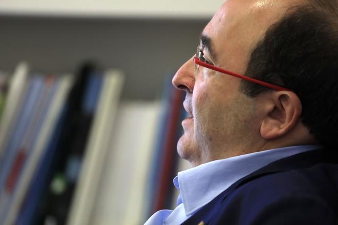 El primer secretario del PSC, Miquel Iceta, en la sede del PSC en Barcelona.