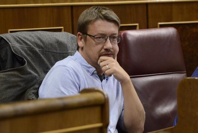 Xavier Domènech, en una sesión en el Congreso de los Diputados.