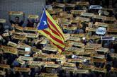 Una bandera 'estelada' durante la manifestación convocada en...