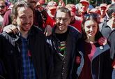 Pablo Iglesias, Juan Carlos Monedero e Irene Montero, en la pasada...