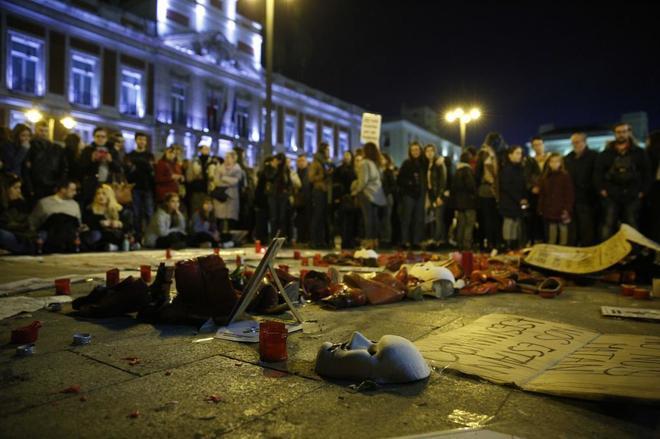 Concentración en la Puerta de Sol contra la violencia de género, el...