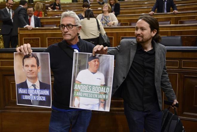 Diego Cañamero, junto a Pablo Iglesias en el Congreso de los Diputados.