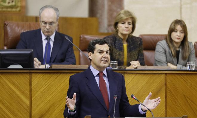 El presidente del PP andaluz, durante su intervención.