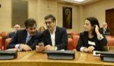 Adriana Lastra junto a Patxi López y José Enrique Serrano