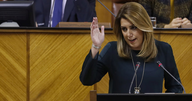 Susana Díaz, durante su intervención ante el Parlamento andaluz.