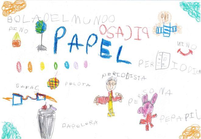 MARIO MANSO. 5 años. Así es cómo ve él un periódico, con papeleras, Peppa Pig, periodistas e incluso personas.