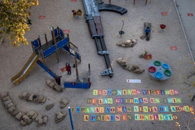 Aspecto del parque madrileño en recuerdo de las victimas de los conflictos armados