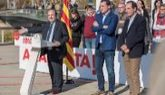 Miquel Iceta, ayer en Lérida con Óscar Ordeig y Ramón Espadaler, de...